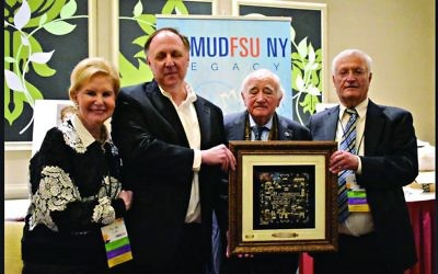 Co-founder Limmud FSU Sandy Cahn, Greg Schneider, Holocaust survivor Roman Kent with his honorary Limmud FSU award, and Chaim Chesler