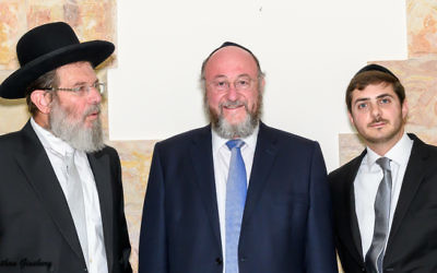 Three rabbis meet prior to the ceremony: (left to right) Rabbi Kalman Ber, Chief Rabbi of Netanya; the Chief Rabbi, and Rabbi Boruch Boudilovsky.