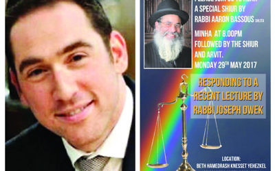 On the left, Rabbi Joseph Dwek, and on the right, a poster promoting Rabbi Bassous' response, which he has now delivered