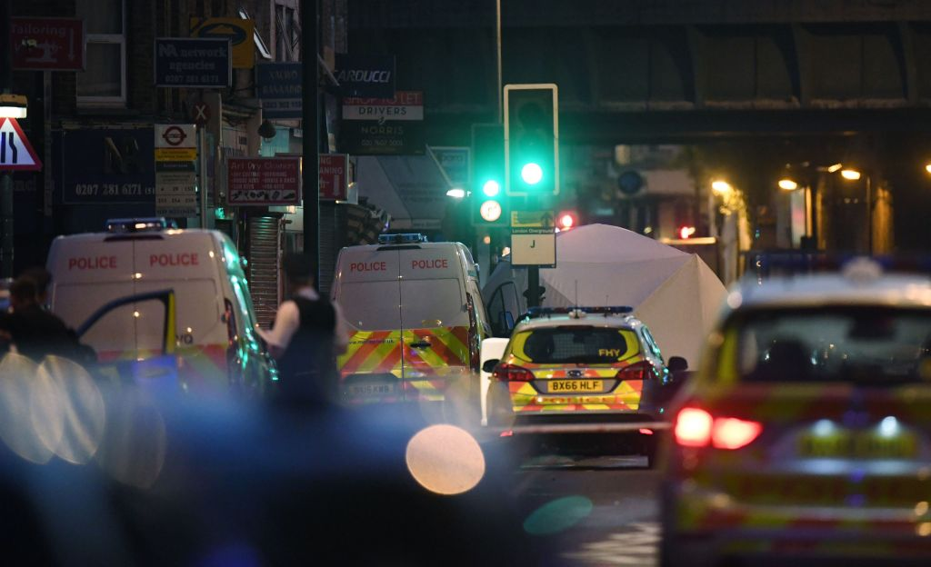 A police forensic tent erected at Finsbury Park in north London, where one man has died, eight people taken to hospital and a person arrested after a van struck pedestrians. Photo credit: Victoria Jones/PA Wire