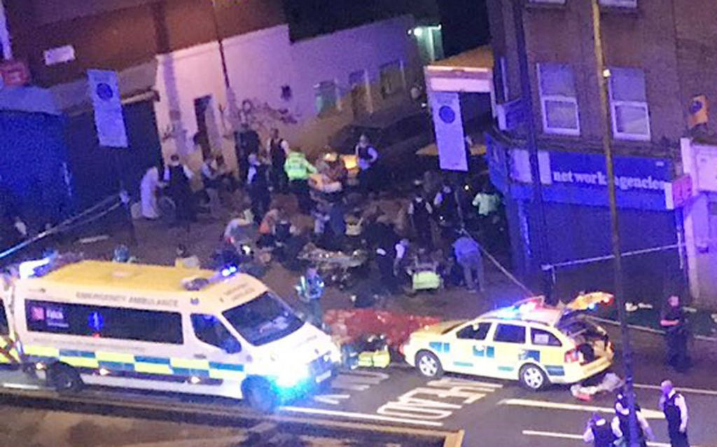 """Picture taken with permission from the Twitter feed of Thomas Van Hulle @Thomasvanhulle showing police activity on the Seven Sisters Road in north London, where one person has been arrested after a vehicle struck pedestrians, leaving """"a number of casualties"""". Photo credit: Thomas Van Hulle @Thomasvanhulle/PA Wire"""