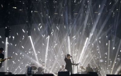 Radiohead performing on the Pyramid Stage, at the Glastonbury Festival at Worthy Farm in Pilton, Somerset.   Photo credit: Yui Mok/PA Wire