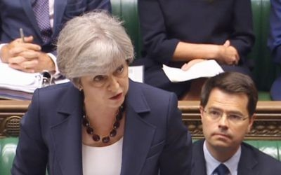 Prime Minister Theresa May speaks during Prime Minister's Questions in the House of Commons, London.    Photo credit: PA Wire