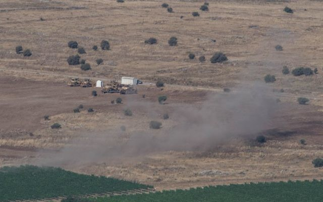 Smoke rise from Syrian village as a result of fighting near the city of Quneitra, in the Golan Heights, 24 June 2017.   Photo by: Ayal Margolin- JINIPIX