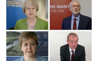 Theresa May, Jeremy Corbyn, Nicola Sturgeon and Tim Farron are all vying for the community's backing