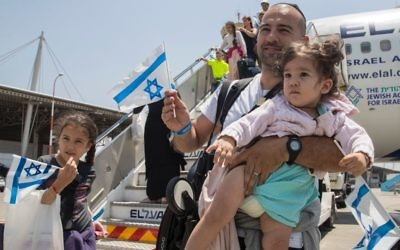 Jews land in Israel after making aliyah