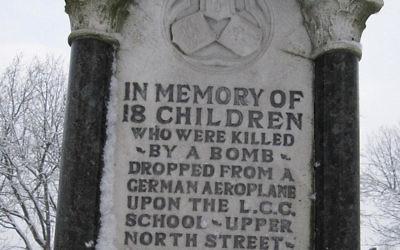 The memorial in Poplar Recreation Ground