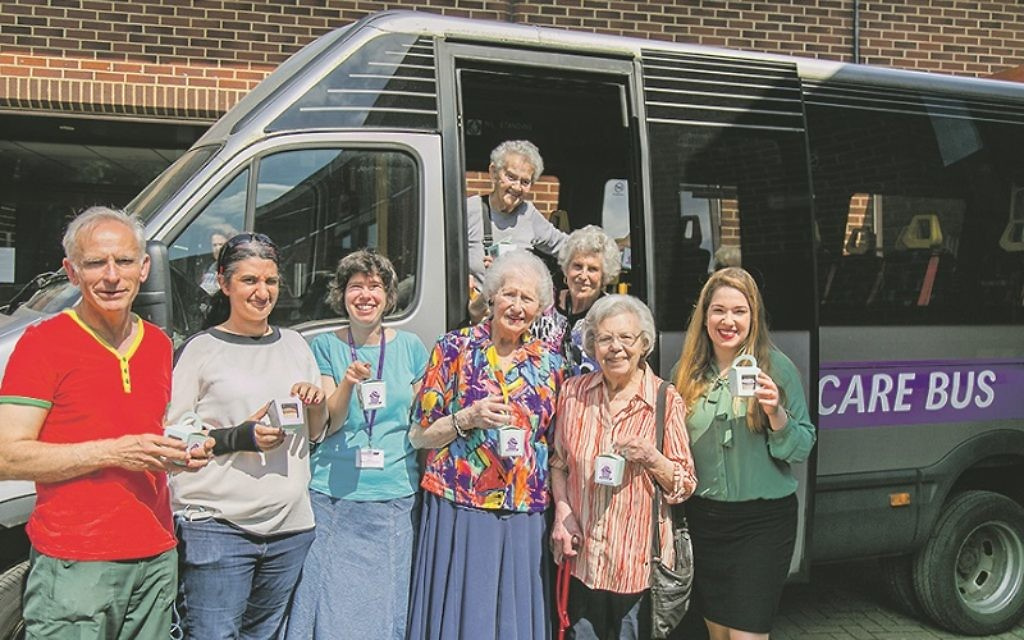 Volunteers and regular passengers on the bus prepare for this year's Great Jewish Bake Day