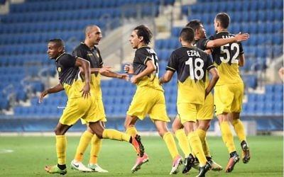 Beitar Jerusalem celebrate their stunning 4-3 Europa League win on Thursday evening.
