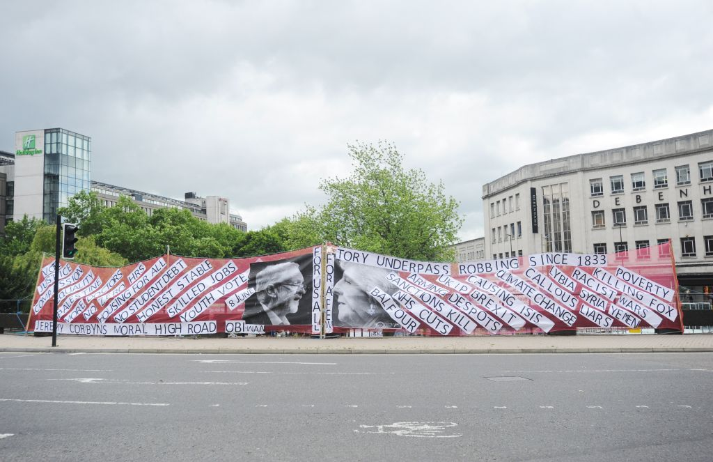 The roundabout in Bristol, featuring the controversial poster Credit Jennie Banks/Bristol Post