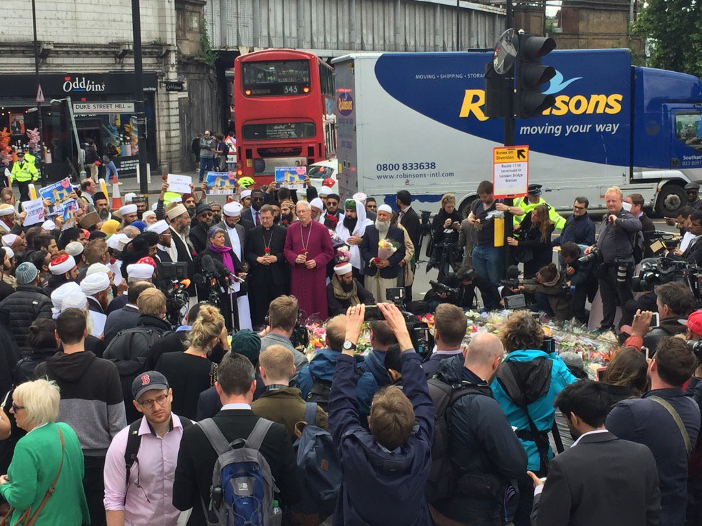 Rabbi Laura Janner-Klausner talking at the anti-terror rally in central London