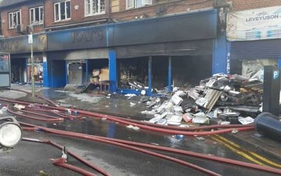 The Kay's Deli blaze caused 25 people to be evacuated, and five to be rescued by emergency services