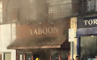 The Taboon restaurant fire   Photo credit: Ari Leitner‏  on Twitter