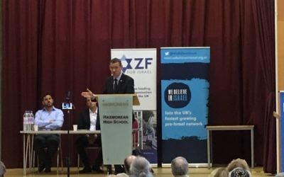 Israeli envoy to the UK Mark Regev addresses the conference on Sunday