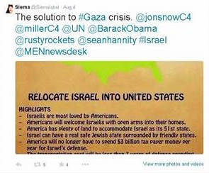 Dr Siema Iqbal tweet calling for Israel's relocation to the United States