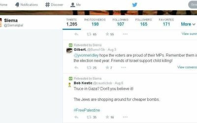 "Dr Siema Iqbal retweeted this message, saying the ""Jews are shopping around for cheaper bombs"""