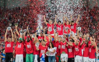 Hapoel Be'erSheva celebrate their second consecutive league title last month