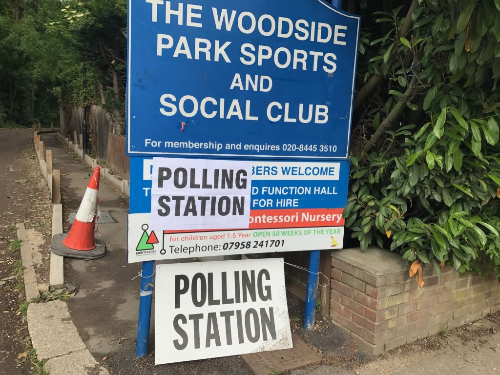 Slow trickle of voters in and out of a polling station in Chipping Barnet, where Theresa Villiers looks set to be re-elected.