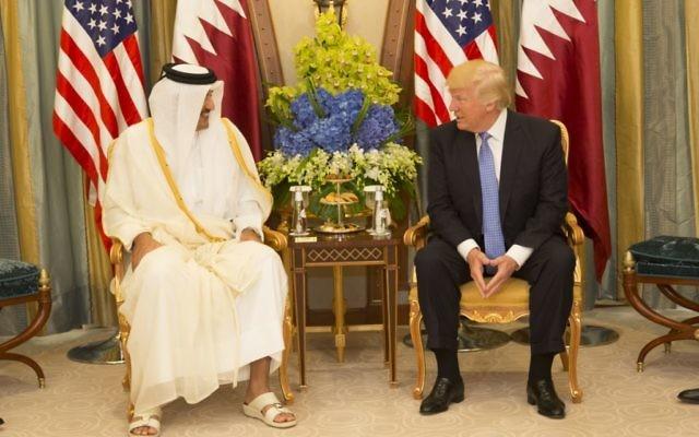 Qatari Emir Tamim bin Hamad Al Thani with U.S. President Donald Trump in May 2017