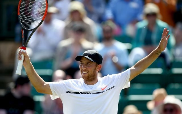 Sela celebrates his win. Picture: Getty Images for LTA