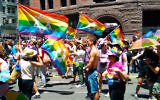 Jewish LGBT flags held during the San Francisco Pride Parade, June 30, 2014. (Wikimedia Commons)