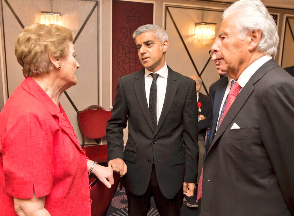 London Mayor Sadiq Khan with a Jewish Care member (left) and Lord Levy, president of the charity.