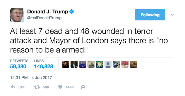 Donald Trump's tweet criticising London Mayor Sadiq Khan