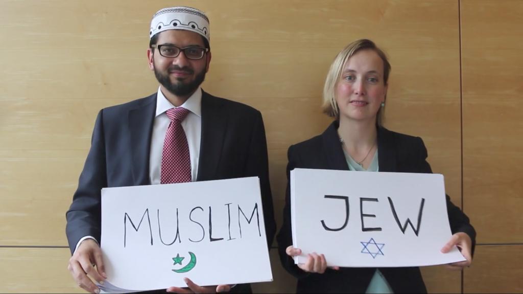 Left, Imam Qari Asim and right, Rabbi Esther Hugenholtz