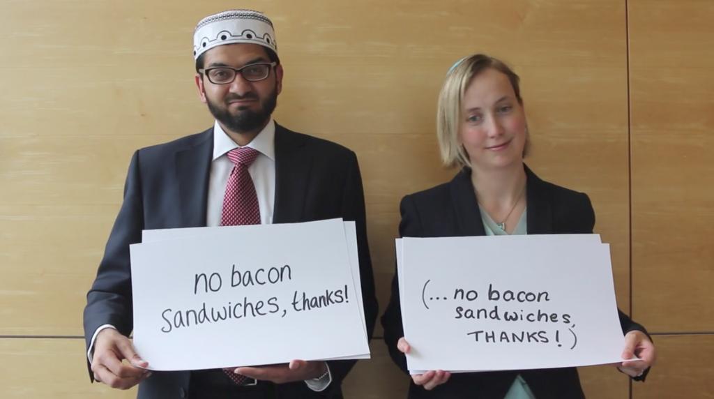 No bacon sandwiches please! Left, Imam Qari Asim and right, Rabbi Esther Hugenholtz