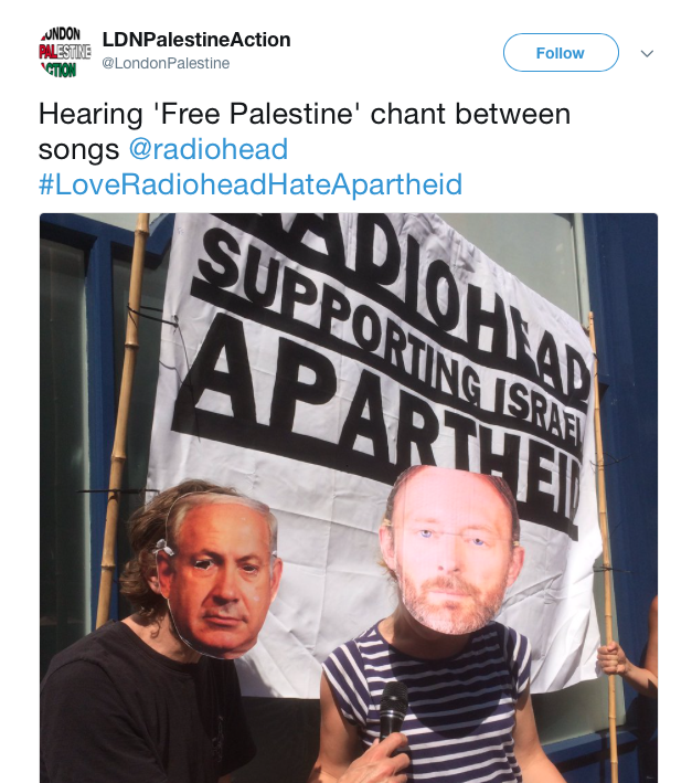 Pro-Palestine groups commenting on the anti-Israel mood in the crowd during Radiohead's gig