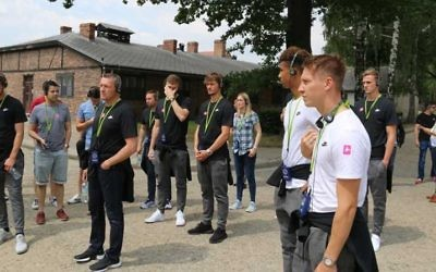 England's U21 head coach Aidy Boothroyd and players visited Auschwitz.