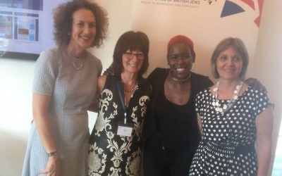 L-R:  Board of Deputies chief executive Gillian Merron, Norma Brier – co-chair of Women in Jewish Leadership, Shakira Martin, new NUS president, and founder of Mitzvah Day, Laura Marks
