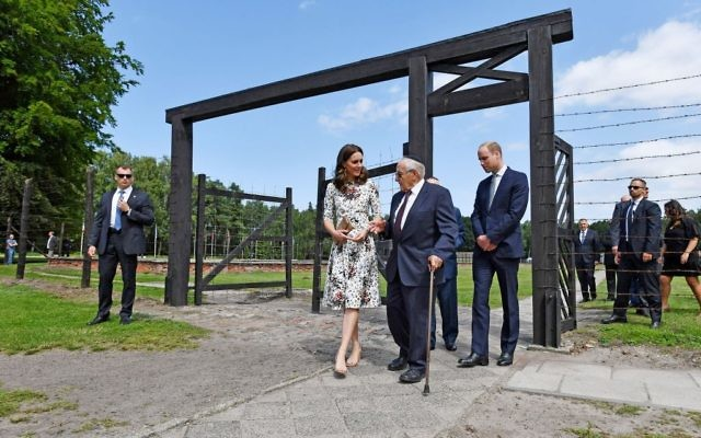 The Duchess of Cambridge with survivor Manfred Goldberg and the Duke of Cambridge with survivor Zigi Shipper during their visit to the former Nazi concentration camp at Stutthof, near Gdansk, on the second day of their three-day tour of Poland.   Photo credit: Bruce Adams/Daily Mail/PA Wire