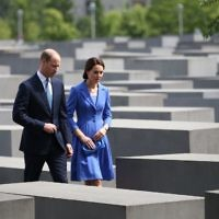 The Duke and Duchess of Cambridge during a visit to the Holocaust Memorial in Berlin on the first day of their three-day tour of Germany (2017).     Photo credit: Jane Barlow/PA Wire