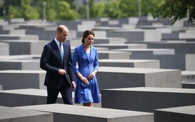 The Duke and Duchess of Cambridge during a visit to the Holocaust Memorial in Berlin on the first day of their three-day tour of Germany.    Photo credit: Jane Barlow/PA Wire