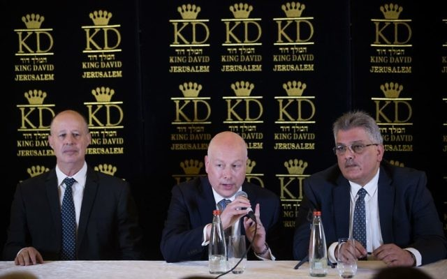 Mazen Ghoneim, head of the Palestinian Water Authority, speaks as Jason Greenblatt (C), U.S. President Donald Trump's Middle East envoy, and Tzachi Hanegbi (L), Israeli Minister of Regional Cooperation, sit next to him during a news conference in Jerusalem July 13, 2017.   Photo by: Yonatan Sindel / JINIPIX