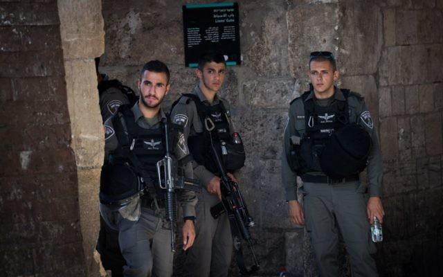 Israeli security in Jerusalem's Old City, e  Photo by: JINIPIX