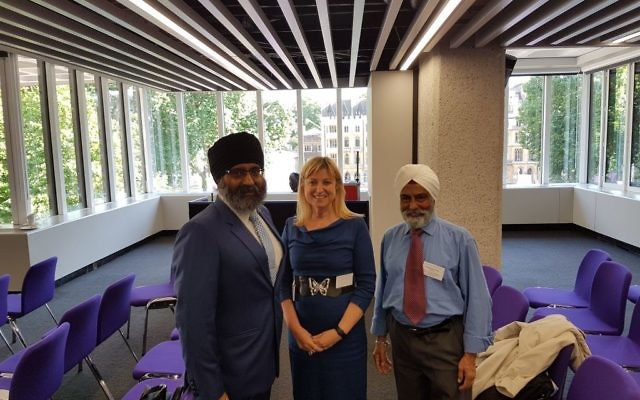Marie van der Zyl, VP Board of Deputies (CENTRE) with Jatinder Singh Birdi to the left and Mohinder Singh Chana (Network of Sikh Organisations) to the right.