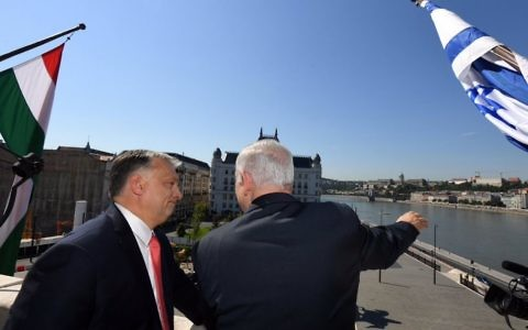 Viktor Orban showing Benjamin Netanyahu  Budapest