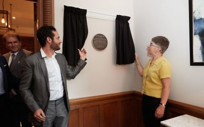Otto Schiff Plaque Unveiling_Paul Godfrey and Julia Shelley