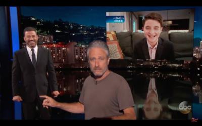 Jon Stewart crashing Jimmy Kimmel live
