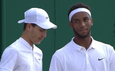 Oliel (left) and Fenty are through to the boys' doubles quarter-finals