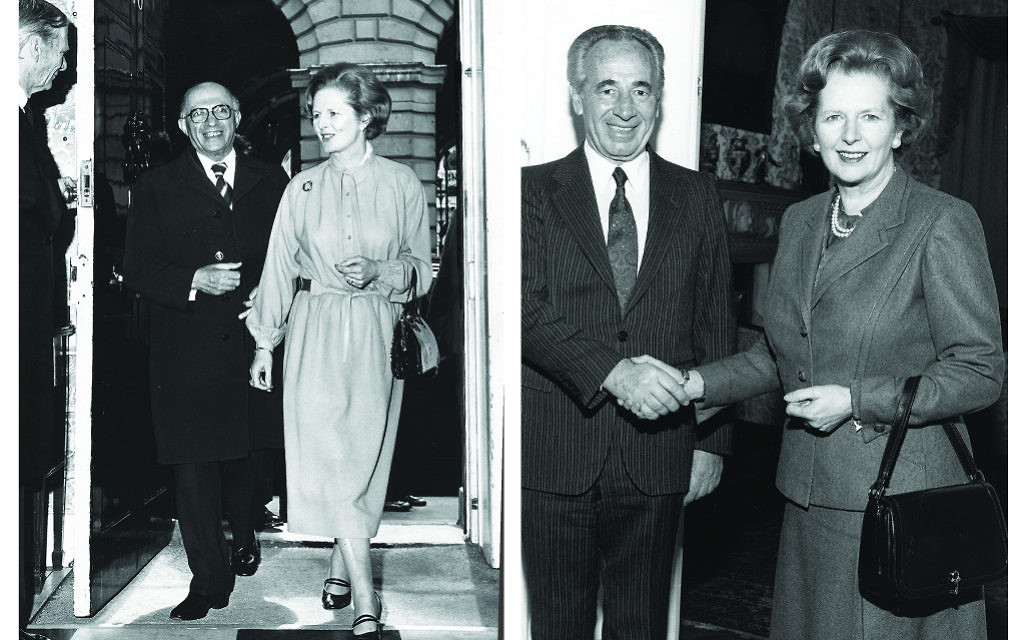 Left: Margaret Thatcher hosts Menachem Begin in May 1979, shortly after her election victory. Right: A successful visit: Thatcher with Shimon Peres in 1985
