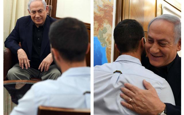 Bibi Netanyahu chatting with Ziv Moyal, 28 upon his return to Israel