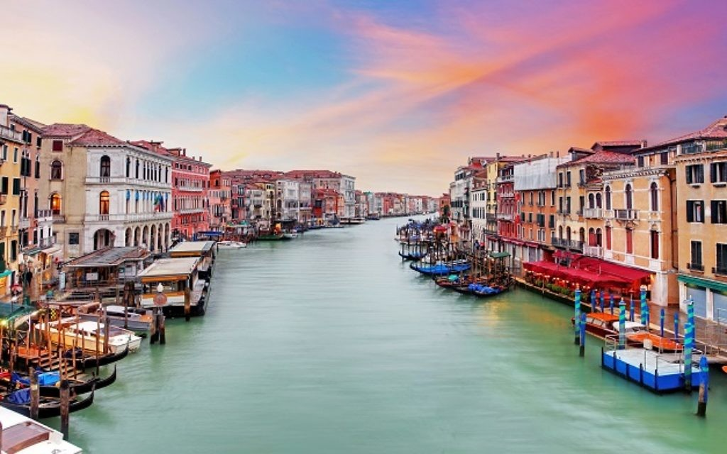 Venice Grand Canal at sunset from the Rialto Bridge