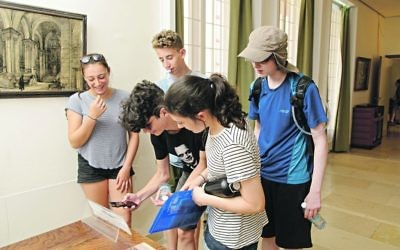 Jewish students from the UK at the Weizmann House,  where they are taking part in an interactive study project