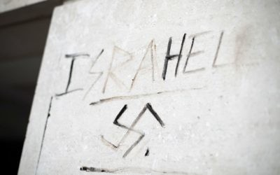 Graffiti saying 'Israhell' next to a swastika on a wall in Victoria, London - August 2017  Photo credit: Yui Mok/PA Wire