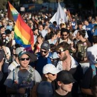 People participate in the annual Gay Pride parade in central Jerusalem, under heavy security on August 3, 2017. Photo by: JINIPIX