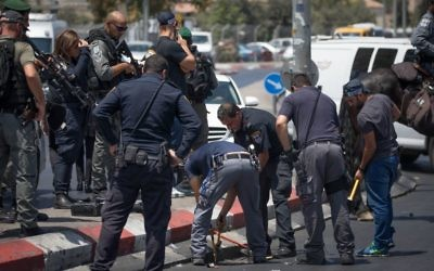 Israeli security forces at the scene of a stabbing attack near Damascus Gate outside Jerusalem Old City.  Photo by: JINIPIX