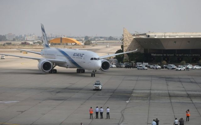 El Al Boeing 787 Dreamliner arrives for a welcome ceremony after his landing at Ben Gurion International Airport, near Tel Aviv on August 23, 2017. Photo by: Nimrod Glikman - JINIPIX
